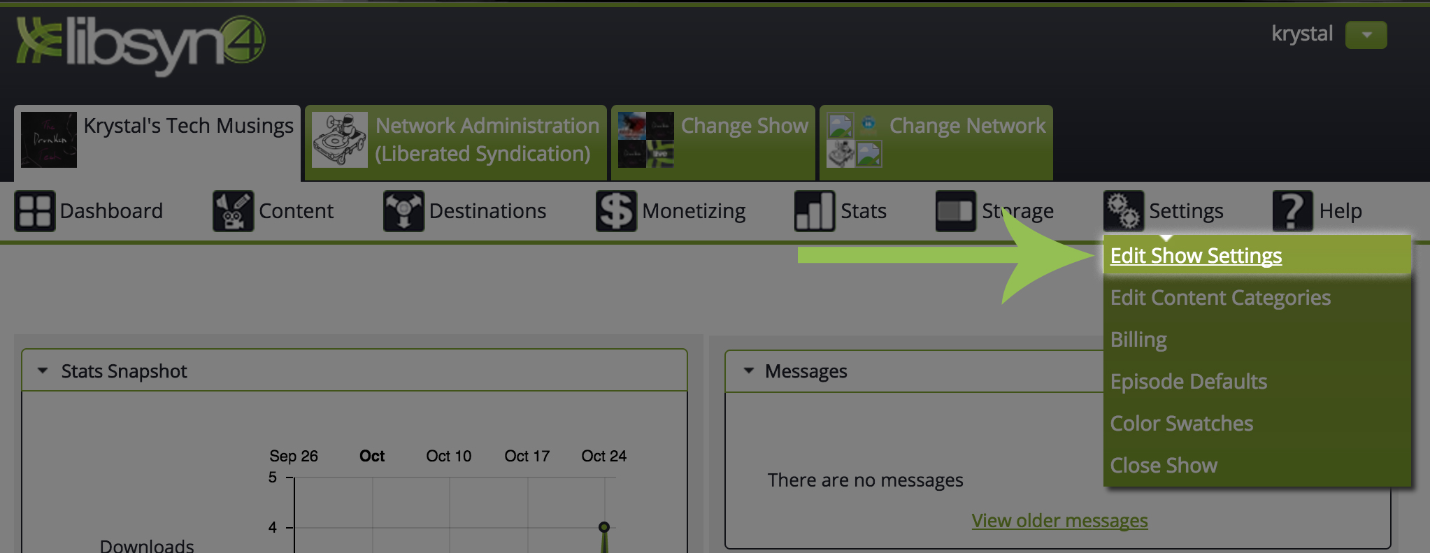 Accessing Show Settings