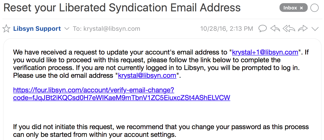 Finalize the E-Mail Change Request