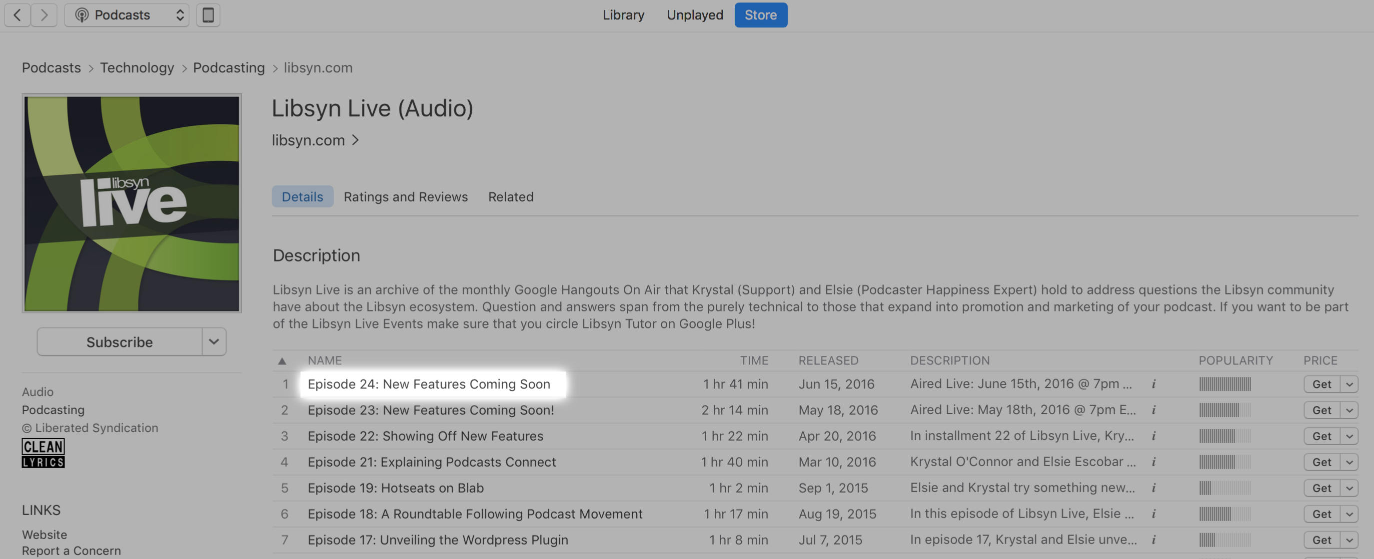 Episode Title in Apple Podcasts