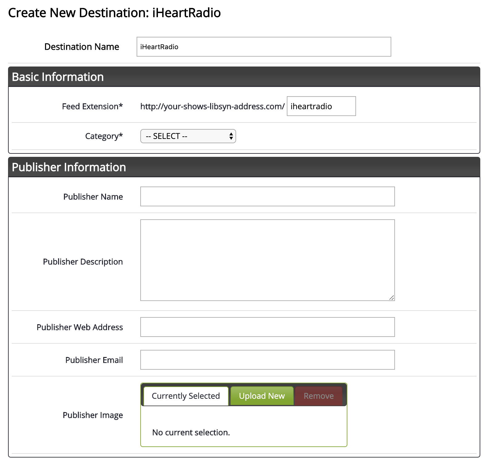 Configuration for iHeartRadio